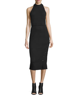 Sleeveless Buttoned Turtleneck Midi Dress, Black