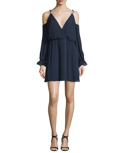 Silk Cold-Shoulder Blouson Mini Dress, Midnight