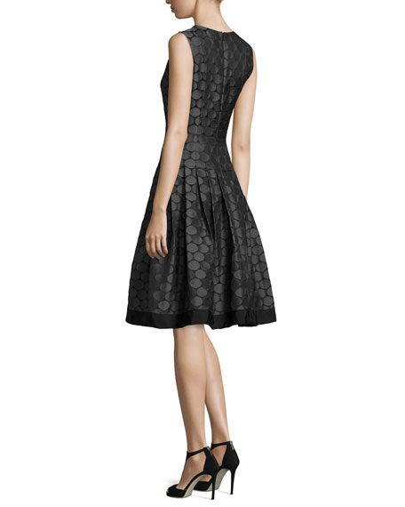 Sleeveless Pleated Jacquard Dress