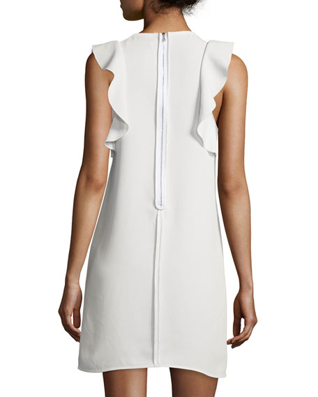 Dillon Sleeveless Ruffle-Trim Shift Dress, Ivory
