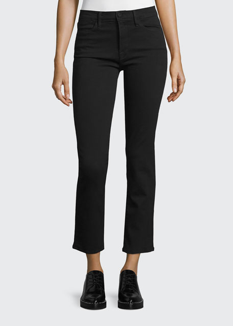 FRAME Le High Straight-Leg Cropped Jeans, Film Noir