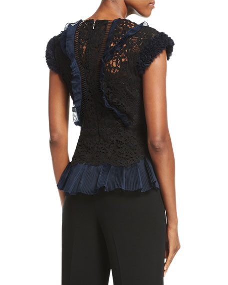 Vien Lace Cap-Sleeve Top, Black/Navy