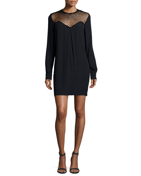 A.L.C. Tate Mesh-Trim Shift Dress, Black