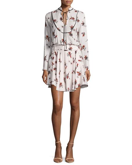 Campbell Long-Sleeve Floral Silk Dress, Light Pink/Multicolor