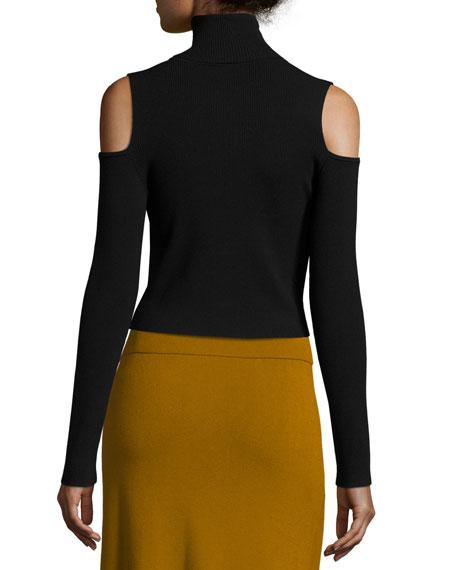 Mervyn Ribbed Cold-Shoulder Sweater, Black