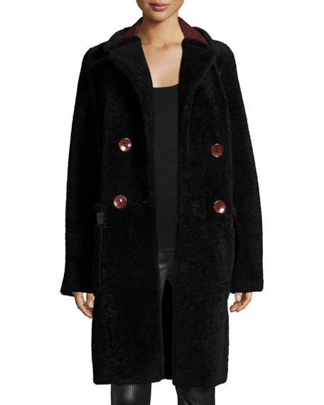 Grayson Reversible Mouton Fur & Leather Coat, Royal Navy/Red Onyx