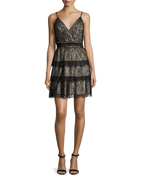Alice + Olivia Olive Tiered Lace Mini Dress,