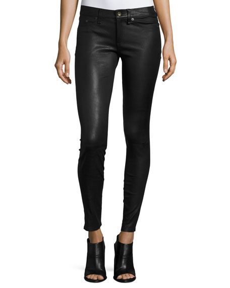 Skinny Leather Ankle Pants, Black