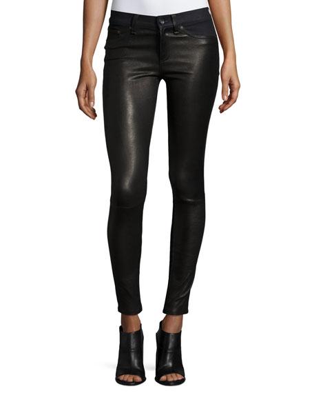 Hyde Essex Leather & Denim Skinny Jeans