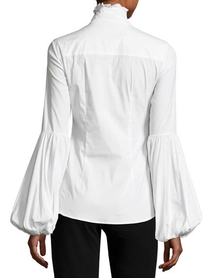 Jacqueline Balloon-Sleeve Shirt, White