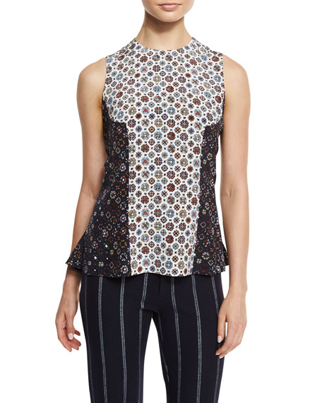 Sleeveless Floral Silk Shell, Soft White/Multicolor