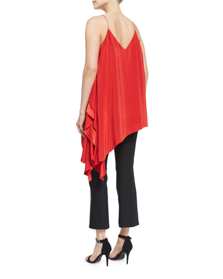 Romeo Sleeveless V-Neck Draped Top, Venetian Red