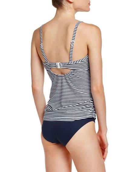 Riviera Stripe-Print DD Cup Singlet Swim Top, Black