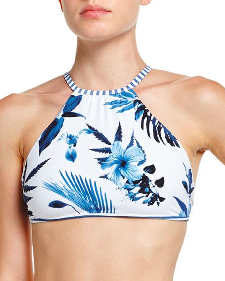 Tropic Coast Reversible High-Neck Swim Top, White