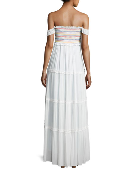 c72724afb4 Tory Burch Smocked Off-the-Shoulder Beach Maxi Dress
