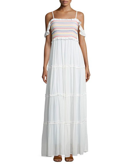Smocked Off-the-Shoulder Beach Maxi Dress