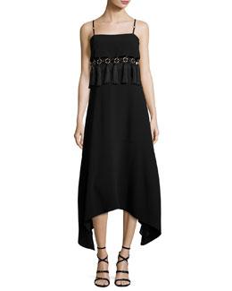 Nolana Sleeveless Tassel-Trim Midi Dress