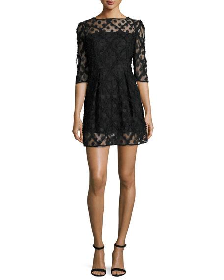 Milly Celia Bateau-Neck Half-Sleeve Embroidered Minidress, Black