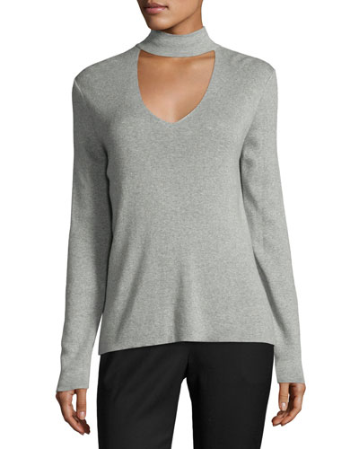 Ribbed Cutaway-Collar Sweater, Gray