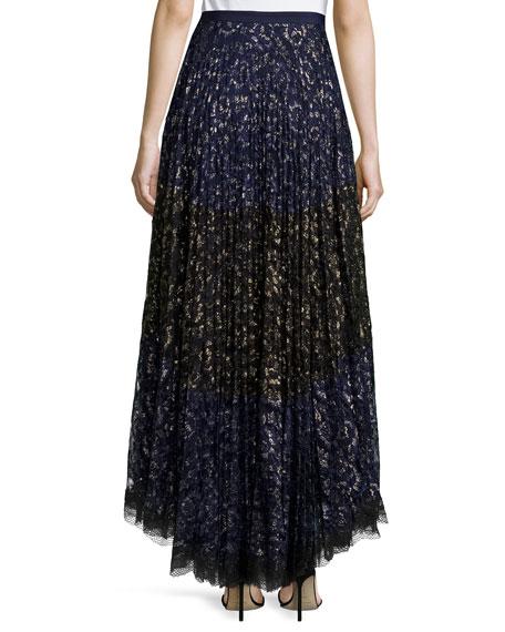 Karen Pleated Lace Maxi Skirt, Navy