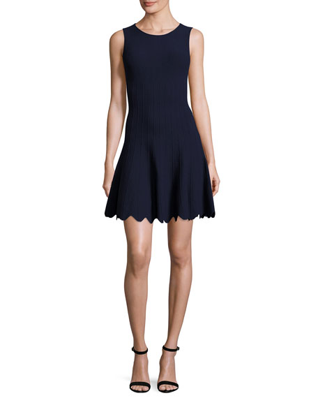 Paulie Pintucked Scalloped Fit-&-Flare Dress