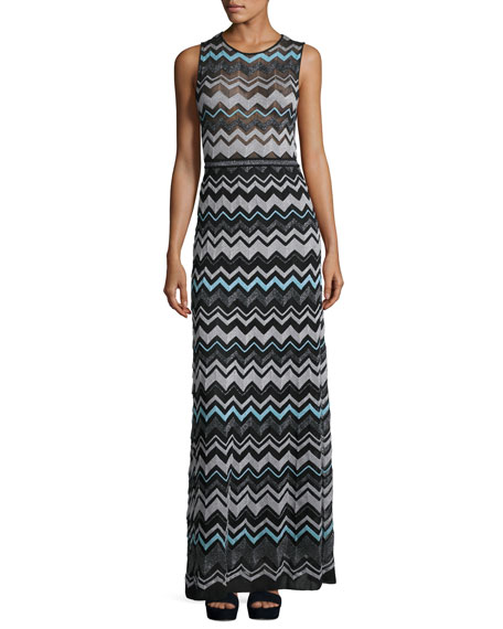Zigzag-Knit Metallic Maxi Dress, Black