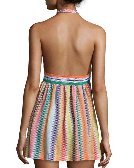 Zigzag Beach Coverup Dress, Multicolor