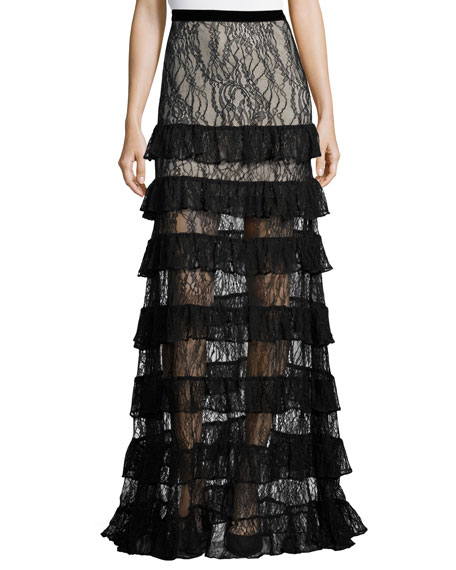 Vicky Tiered Lace Maxi Skirt, Black