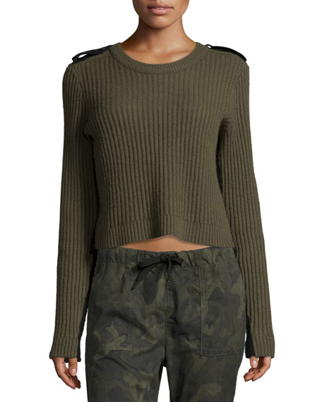 Tara Ribbed Pullover, Army Green