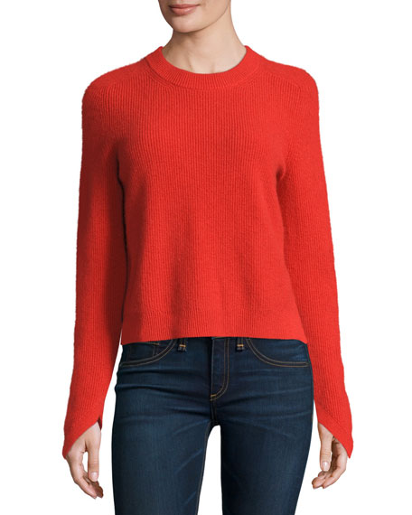 Rag & Bone Valentina Ribbed Cashmere Sweater, Fiery