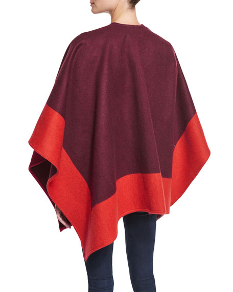 Double-Face Colorblock Merino Wool Wrap, Berry
