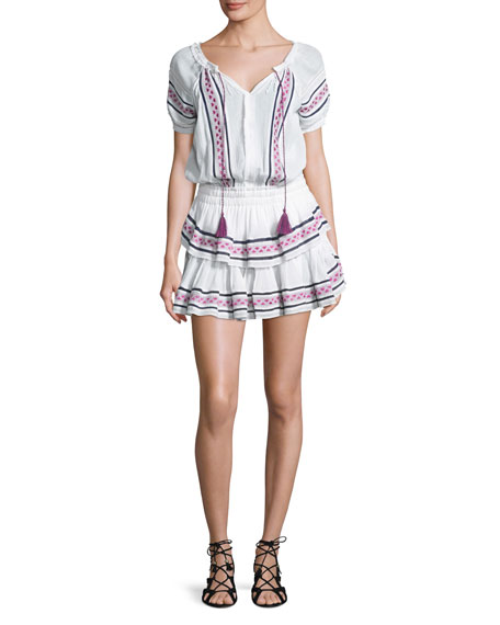Loveshackfancy Poppy Baja Embroidery Cotton Mini Dress, White