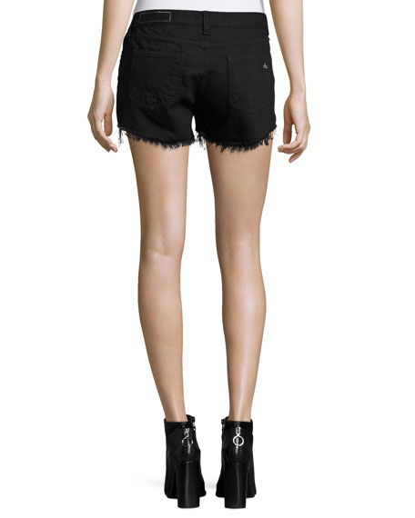 Studded Cut-Off Denim Shorts, Black