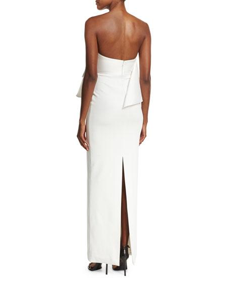 Liv Strapless Satin Twill Maxi Dress, Cream