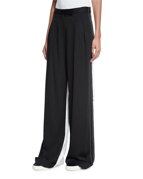 DKNY Pleated-Front Wide-Leg Combo Pants, Black