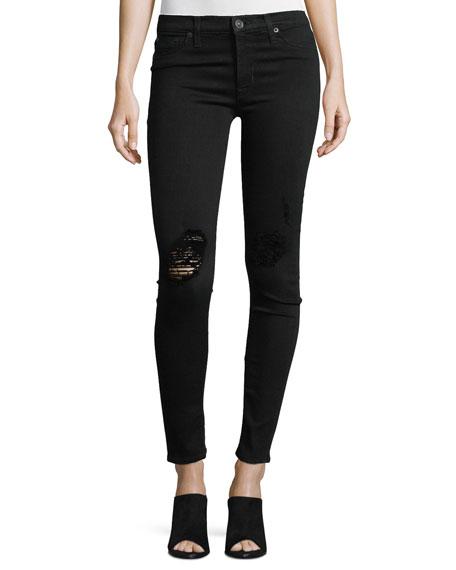 Hudson Nico Distressed Mid-Rise Skinny Jeans, Ravage