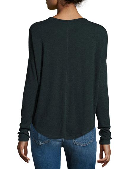 3efbdd3fb17b rag & bone/JEAN Hudson Heathered Long-Sleeve T-Shirt, Scarab/Black