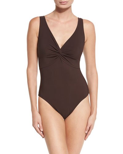 Twist-Front Underwire One-Piece Swimsuit