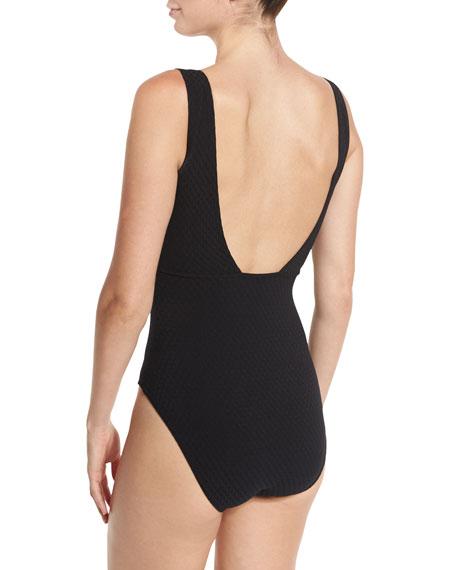 Delphine V-Neck Zip-Front One-Piece Swimsuit
