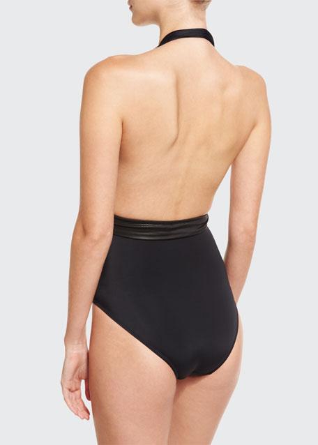 Roman Plunge-Neck One-Piece Swimsuit