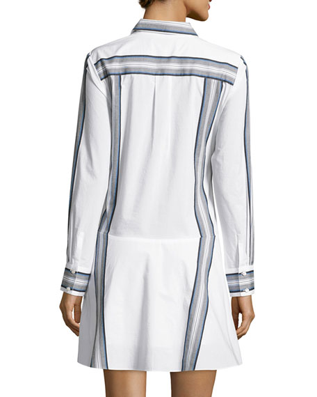 486c1762d362c8 Derek Lam 10 Crosby Long-Sleeve Poplin Tie-Waist Shirtdress