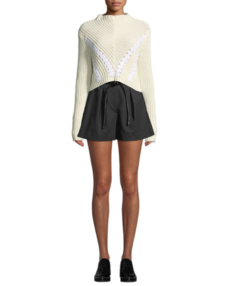 Pleated Paperbag-Waist High-Rise Shorts, Antique White