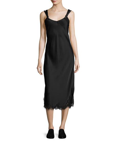 Helmut Lang Sleeveless Satin Slip Dress, Black