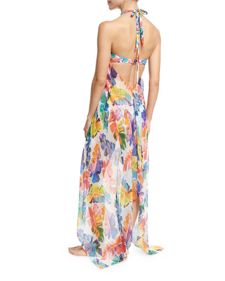 Katrina Banana Leaf Chiffon Coverup Dress, Multicolor