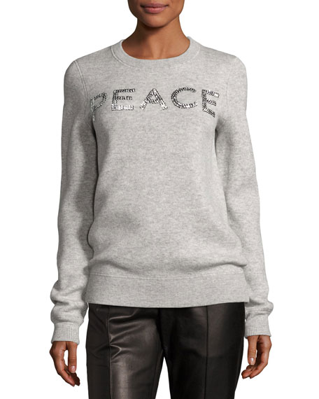 Michael Kors Collection Holiday Peace Cashmere Sweater, Gray