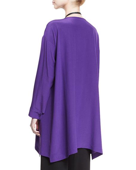 A-Line Silk Crepe Top, Purple