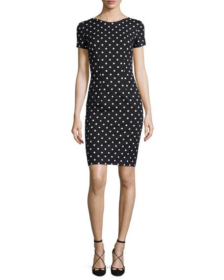 Carolina Herrera Short-Sleeve Polka-Dot Sheath Dress, Black/White