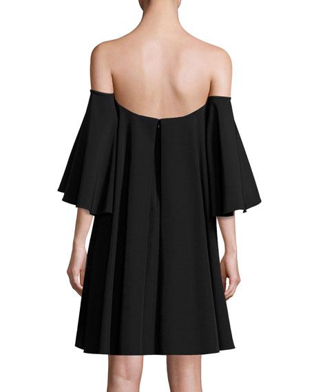 Mila Off-the-Shoulder Italian Cady Minidress, Black