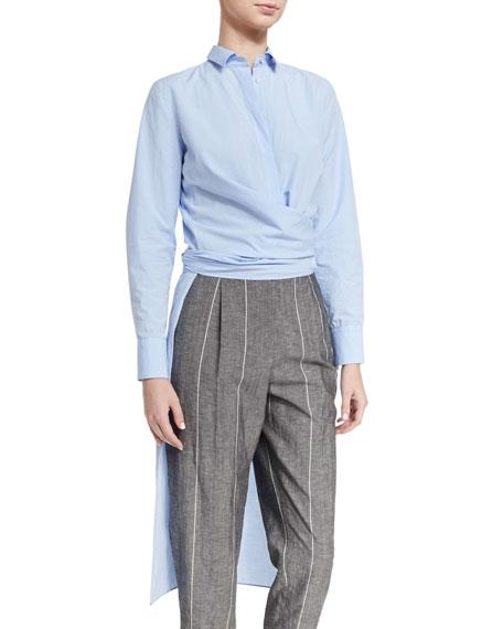 Wrap-Waist High-Low Tunic Shirt, Cloud