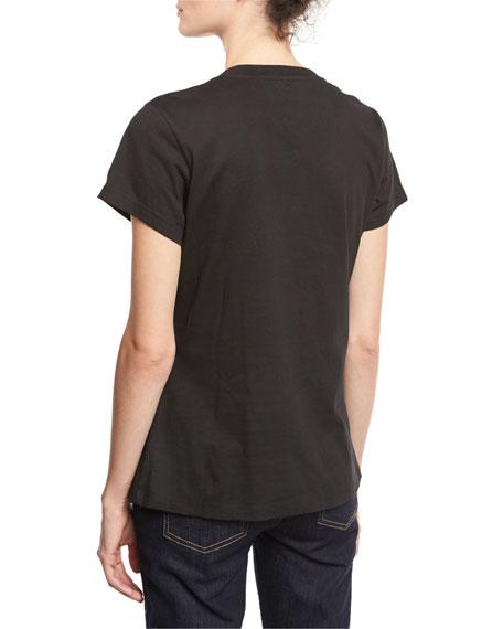 Short-Sleeve Patchwork Tee, Black